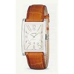 Men Eberhard 41017CP Automatic quandrante Steel White Leather Strap Watch
