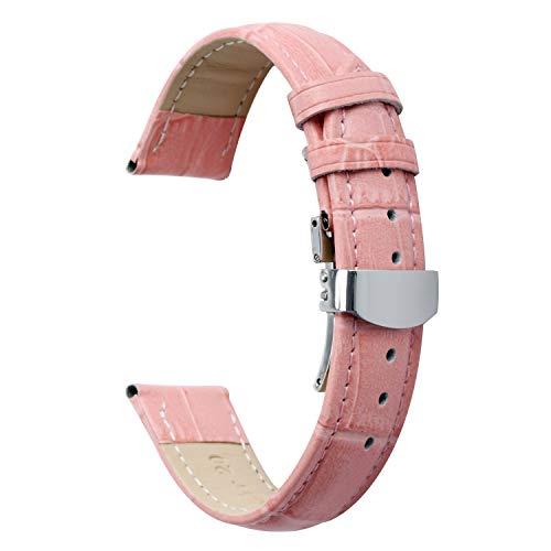 Uhrenarmbänder für Männer für Frauen 20mm Ersatz Lederarmband Uhrenarmband mit Edelstahl Metallschnalle rosa (Seiko-uhr-handgelenk-band-pins)