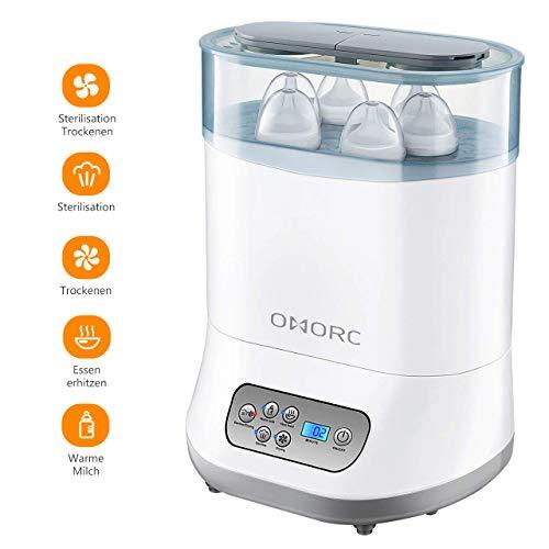 OMORC Sterilisator 5-in-1 Baby Flaschenwärmer mit Trocknungsfunktion Dampfsterilisator mit LCD-Anzeige für Babyflaschen, Sauger und Stillzubehör