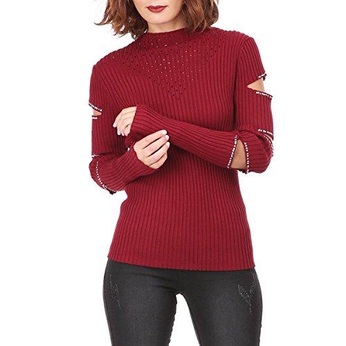 La Modeuse - Pull femme en maille effet côtelé col montant Rouge