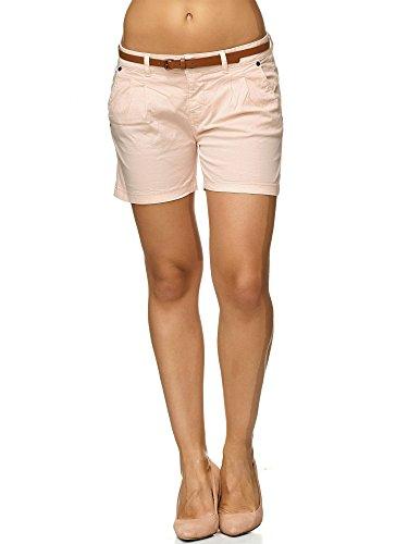 Sublevel Damen D6053Z61713KBS Chino-Shorts kurze Hose inkl. Gürtel aus hochwertiger Baumwolle Beige XL