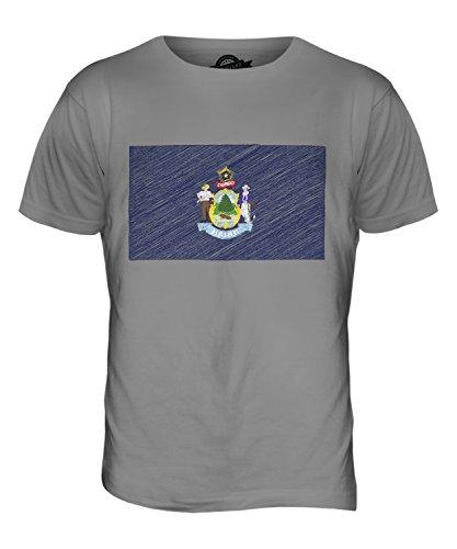 CandyMix Bundesstaat Maine Kritzelte Flagge Herren T Shirt Hellgrau