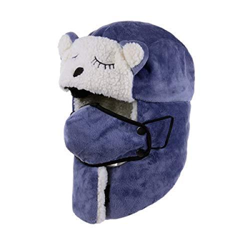 -Mütze Bomberhüte Winter Plus Samt Dicke Winddichte Kopfhörer Hut Lei Feng Hut Pilot Hut,Children's(Cat)-Blue ()