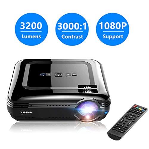 Vidéoprojecteur, LESHP Projecteur Vidéo LCD Full HD Haute Luminosité 3200 Lumens Résolution 1080P Videoprojecteur HDMI- Idéal pour Home Cinéma TV Box Android Cadeau Noël