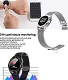AZWE Rastreador de ejercicios, reloj inteligente con pantalla táctil, ritmo cardíaco del contador de pasos Bluetooth, recordar pantalla a color grande, compatible con Android iOS,Plata