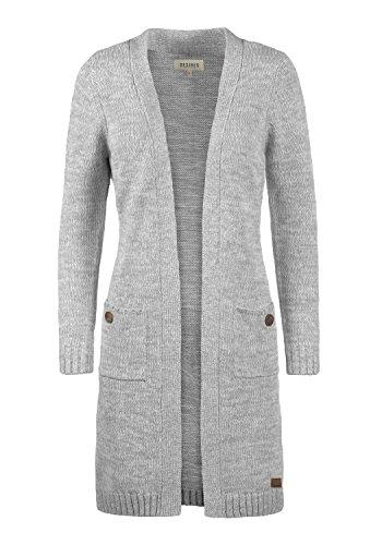 DESIRES Philetta Damen Strickjacke Cardigan aus 100% Baumwolle Meliert, Größe:XS, Farbe:Light Grey Melange (8242)