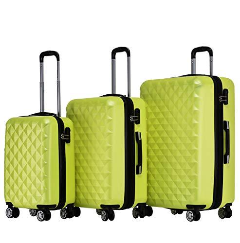 BEIBYE Zwillingsrollen 2066 Hartschale Trolley Koffer Reisekoffer Gepäck M-L-XL-Set (Grün, Set)