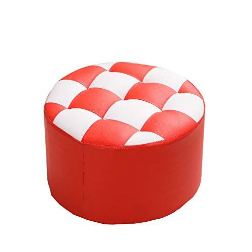 Xing zi sofa stool x-l-h sgabello per divano, panca per la sostituzione della casa - sgabello rotondo in pelle, soggiorno 40x40x26cm (colore : red)