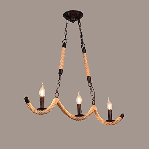 LOFT Industrial Style Creative Kerze-geformte Hanf Seil Kronleuchter, Drei Head Restaurant Kronleuchter, Bar Kronleuchter, Cafe Kronleuchter, Shop Kronleuchter (Licht-kerzen-kronleuchter Drei)