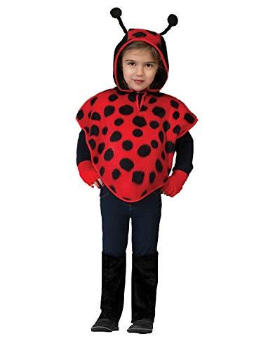 Halloweenia - Kinder Jungen Mädchen Kostüm Umhang und Kaputze im Marienkäfer Maikäfer Stil, Ladybug Cape Poncho with Hood, perfekt für Karneval, Fasching und Fastnacht, 98, ()