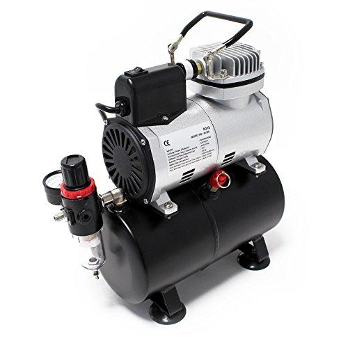 Airbrush Kompressor AF186 mit Lufttank Druckminderer 4 bar Start-Stop Automatik -