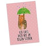 Mr. & Mrs. Panda Postkarte Bär mit Regenschirm - 100% handmade in Norddeutschland - Grußkarte, Sprüche, Postkarte, Spruch, Freunde, Familie, Geschenkkarte, Pärchen, Pappe, Liebe, Partner zurück, Papier