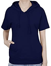 ililily Basic Solid Color Short Sleeve Pullover Hooded Cotton Top Sweatshirt