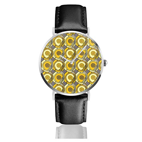 Armbanduhr Tons O Tubas Casual Uhren für Herren Damen Damen mit schwarzem Leder