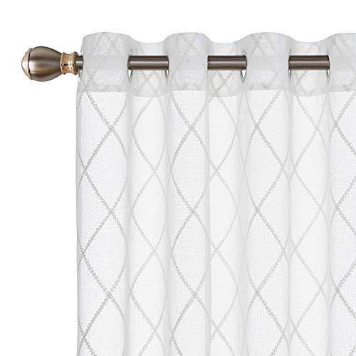 Deconovo tende trasparenti voile ricamate a geometrico tende in lino con occhielli per casa moderne bianco 140x245 cm due pannelli