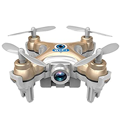 Smallest RC Quadcopter, Megadream CX-10W 4CH 2.4Ghz 6-Axis Gyro Mini Drone RTF Ready-To-Fly R/C Model Aircraft Helicopter Mini Wifi FPV With 0.3MP HD Camera, IOS/Android APP Wifi Romote Control Drone for Indoor Outdoor Flying - Golden