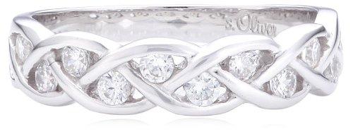 S.Oliver Damen Ring geflochtener 925 Sterling Silber rhodiniert Zirkonia weiß
