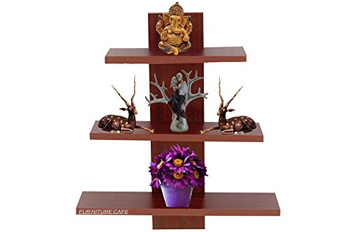 Fasherati Wall Decor Book Shelf/Wall Display Rack (3 Shelves) - Ideal for Gift (Brown Colour in Wenge Finish) - Novello Wall Mount