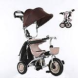 SSLC Triciclo Plegable,Bicicleta Triciclo Bebe Evolutivo Bicicleta para Bebes Evolutivo con Parasol y Putter 1-6 año Tricilo para niños Plegable con Cubierta de Lluvia, Khaki