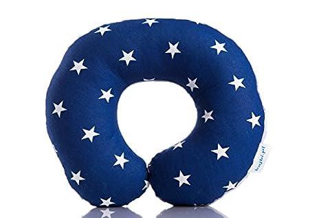 BAJBI ® | U Shaped Reisekissen / Nackenschutz für Kinder | Baumwolle / Minky | Antiallergisch | Made in EU | Erhältlich in vielen Farben und Mustern (stern auf mitternacht blau/grau)