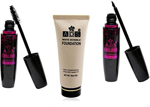Ads Waterproof Eyeliner Mascara And White Invisible Foundation (Set of 3)