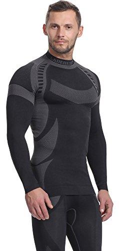 Ladeheid Herren Funktionsunterwäsche Langarm Shirt Thermoaktiv Schwarz/Grau