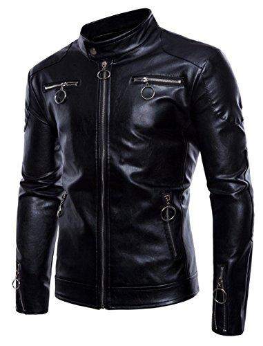 NBNNB Herren Stehkragen Persönlichkeit Mehrere Reißverschlüsse PU Leder Biker Jacke Slim Fit Motorradjacke Mantel XS-3XL (XXL, Schwarz)
