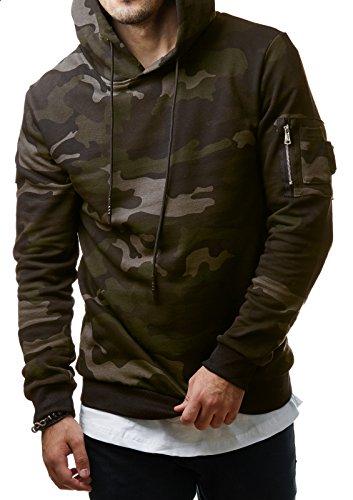 Uniplay Herren Camouflage Hoodie Kapuzenpullover Sweater Grün Grau Grey Camo UP1002, Größe:M;Farbe:Camouflage