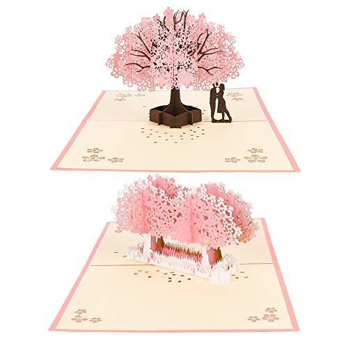 redcherry 2 Stück 3D Grußkarte, Geburtstagskarte Hochzeitskarte Pop Up Romantik Faltkarte Kirschblüte Karte für Hochzeitstag Geburtstag Muttertag Valentinstag