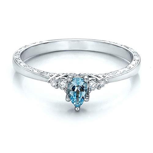 WEILYDF Kristall Ring Kreative Stilvolle Frauen Faux Blau Aquamarin Strass Hochzeit Engagement Versprechen Band Ring Schmuck