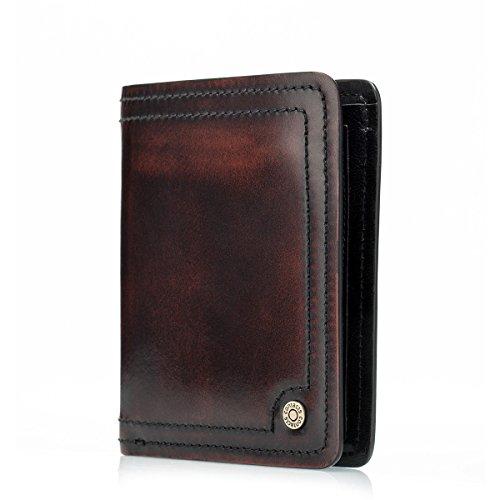 Contacts Echte Kuh-Leder Flipout ID Wallet Bifold Trifold Männer Herren Damen Geldbörse Leder (Inhaber Scheckheft Brieftasche)