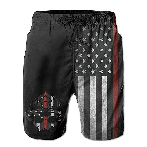 Qfunny Men Fireman Skull Thin Red Line Flag Summer Breathable Quick-Drying Swim Trunks Beach Shorts Board Shorts Herrenshorts am Strand