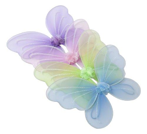 4 Stück in 4 Farben: Flügel für Fee oder Schmetterling Set Kostüm Party-Paket Mottoparty für Mädchen: Klein- und Schulkinder, Set aus Grün, Blau, Rosa und Lila