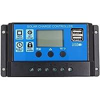SODIAL 20A 12V 24V Auto work PWM Controlador de carga solar con LCD Dual USB Salida de 5V Panel de celula solar Cargador Regulato