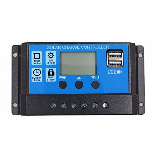 TOOGOO 20A 12V 24V Auto Arbeit PWM Solar Laderegler mit LCD Dual USB 5V Ausgang Solar Cell Panel Ladegeraet Regulato