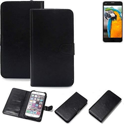 K-S-Trade Wallet Case Handyhülle Vestel V3 5040 Schutz Hülle Smartphone Flip Cover Flipstyle Tasche Schutzhülle Flipcover Slim Bumper schwarz, 1x