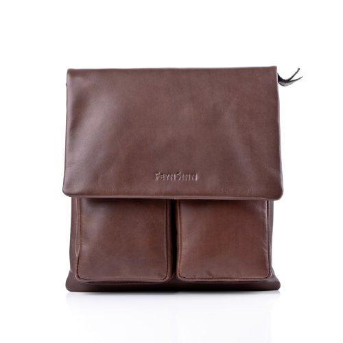 FEYNSINN Umhängetasche Leder NIA Schultertasche Unisex Handtasche mit Schultergurt echte Ledertasche Damen Herren braun