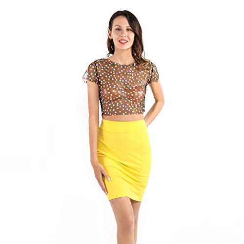 LnLyin Frauen Mesh Top Anzug Dot durchsichtigen transparenten Kurzarm Shirt Hip Röcke für Party, XL Hip Dot