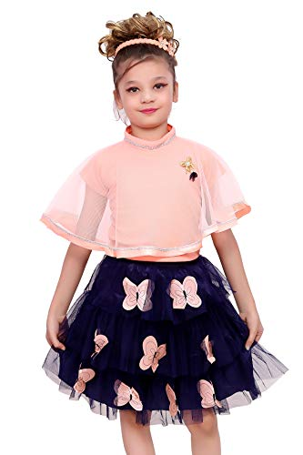 ELENDRA Girls Kids Casual WEAR Slim FIT Stretchable Skirt with TOP (Orange, 5-6 Years)