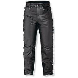 A-pro Pantalón de piel para motociclismo Senkel Custom Chopper Touring, 5bolsillos, color negro, talla 40
