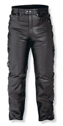 A-pro Mens Motorcycle Motorbike Biker Leather Trousers Jeans Laces Cruiser Black 36 (Lace Jeans Leder)
