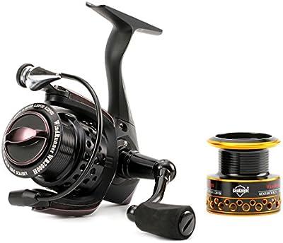 SeaKnight Full negro carrete de WR–de fibra de carbono Arrastre, 11BB–Luz, suave Carpa Carrete de pesca con carrete de repuesto