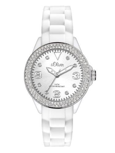 s.Oliver - SO-2448-PQ - Montre Femme - Quartz Analogique - Aiguilles Lumineuses - Bracelet Silicone Blanc