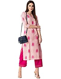KHUSHAL Women's Cotton Printed Kurta with Palazzo Set