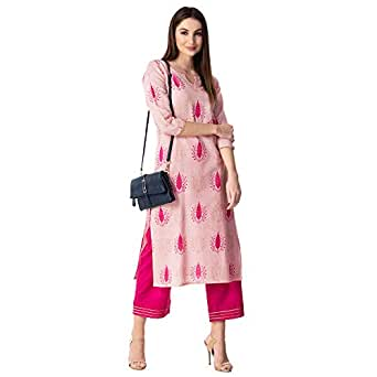 KHUSHAL Women's Cotton Printed Kurta with Palazzo Set (Pink, Small)