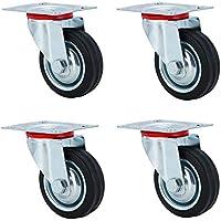 kitech ildhrrd ruedas de transporte vollgummi 4ruedas de muebles rollo 5997Rueda de la Industria rollo cargas pesadas ruedas ruedas fijas, 2ruedas + 2ruedas con freno, Negro