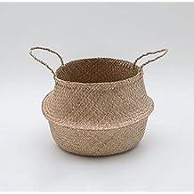 YHJ Aceptar la cesta Canasta de algas hechas a mano Cesta multifunción Cesta de mano Canasta de mimbre cesta de flores Cesto de almacenamiento decorativo ( Tamaño : S )
