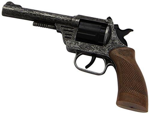 kota antik: Spielzeugpistole für Cowboys und Sheriffs, ideal für Fasching, 8 Schuss, 19.8 cm, silber / grau (E0162/92) (Gute Sheriff Kostüme)