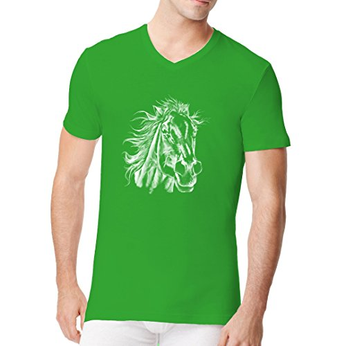 Fun Männer V-Neck Shirt - Pferdekopf by Im-Shirt Kelly Green