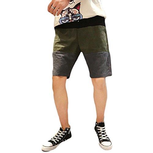 Aooword-men clothes Herren leinen baumwollbeiläufiges Spell Farbe Plus größe lose Mode Shorts XX-Large Armee Grün -